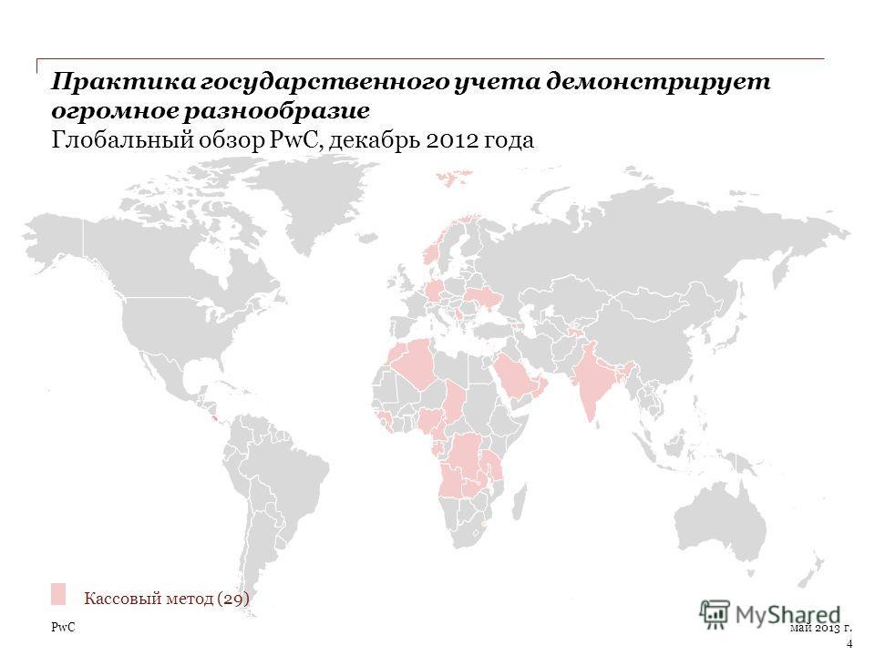PwC Практика государственного учета демонстрирует огромное разнообразие Глобальный обзор PwC, декабрь 2012 года май 2013 г. 4 Кассовый метод (29)