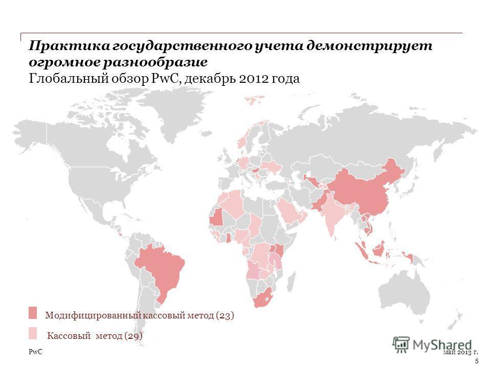 PwC Практика государственного учета демонстрирует огромное разнообразие Глобальный обзор PwC, декабрь 2012 года май 2013 г. 5 Модифицированный кассовый метод (23) Кассовый метод (29)