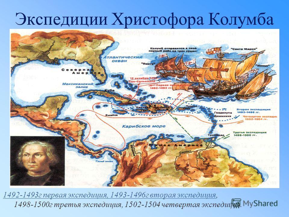 Экспедиции Христофора Колумба 1492-1493г первая экспедиция, 1493-1496г вторая экспедиция1492-1493г первая экспедиция, 1493-1496г вторая экспедиция, 1498-1500г третья экспедиция, 1502-1504 четвертая экспедиция.