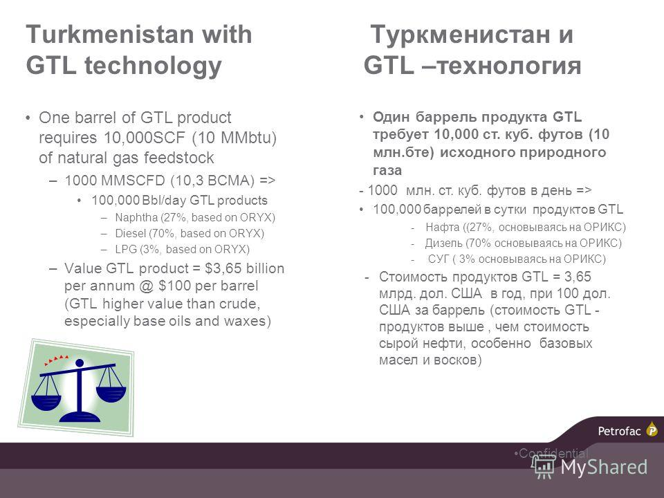 Turkmenistan with GTL technology One barrel of GTL product requires 10,000SCF (10 MMbtu) of natural gas feedstock –1000 MMSCFD (10,3 BCMA) => 100,000 Bbl/day GTL products –Naphtha (27%, based on ORYX) –Diesel (70%, based on ORYX) –LPG (3%, based on O