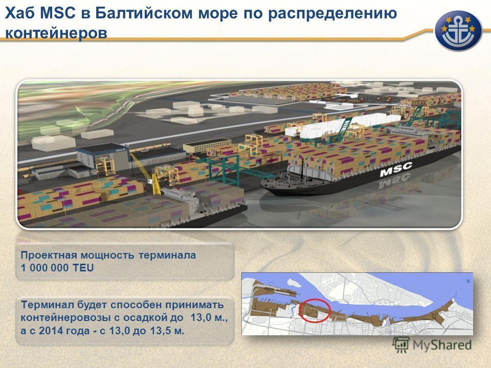 Хаб МSC в Балтийском море по распределению контейнеров Проектная мощность терминала 1 000 000 TEU Tерминал будет способен принимать контейнеровозы с осадкой до 13,0 м., а с 2014 года - с 13,0 до 13,5 м.