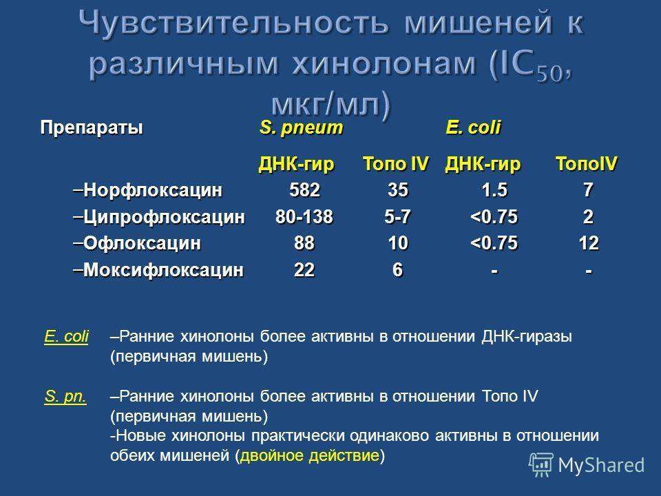 Препараты S. pneum E. coli – Норфлоксацин – Ципрофлоксацин – Офлоксацин – Моксифлоксацин ДНК-гир58280-1388822 Топо IV 355-7106ДНК-гир1.5