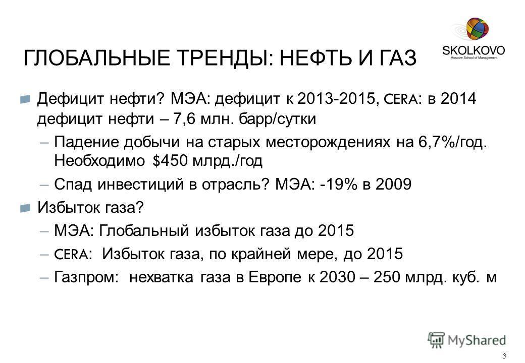 ГЛОБАЛЬНЫЕ ТРЕНДЫ: НЕФТЬ И ГАЗ 3 Дефицит нефти? МЭА: дефицит к 2013-2015, CERA : в 2014 дефицит нефти – 7,6 млн. барр/сутки –Падение добычи на старых месторождениях на 6,7%/год. Необходимо $ 450 млрд./год –Спад инвестиций в отрасль? МЭА: -19% в 2009