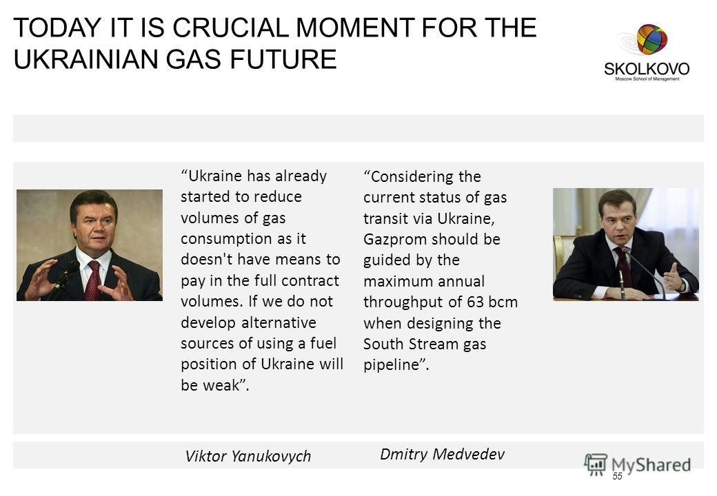 TODAY IT IS CRUCIAL MOMENT FOR THE UKRAINIAN GAS FUTURE 55 Dmitry Medvedev Considering the current status of gas transit via Ukraine, Gazprom should be guided by the maximum annual throughput of 63 bcm when designing the South Stream gas pipeline. Uk