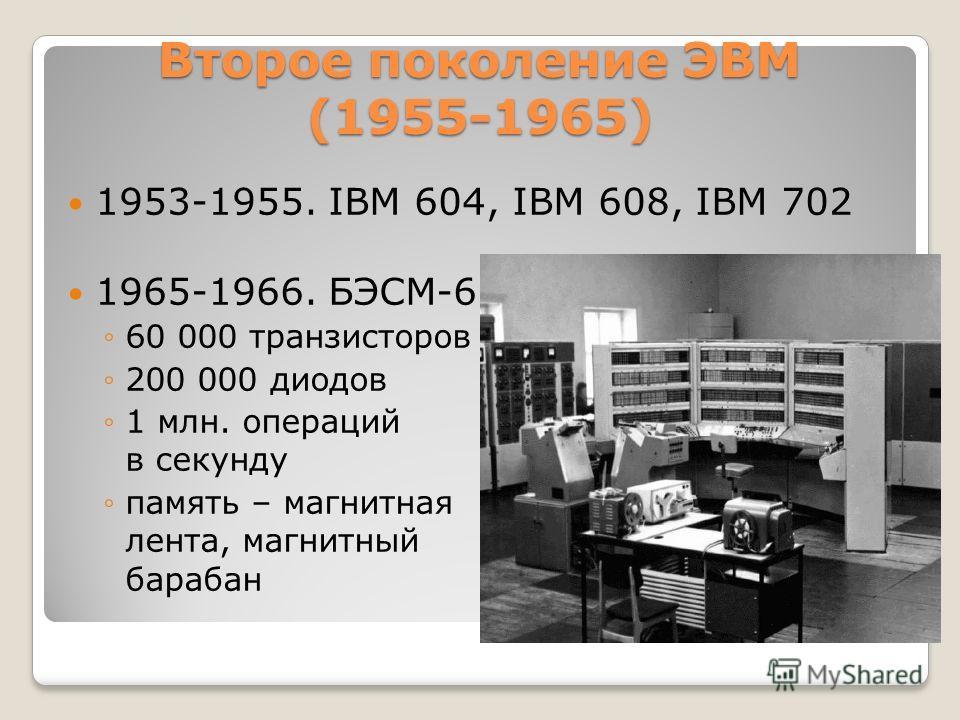 Второе поколение ЭВМ (1955-1965) 1953-1955. IBM 604, IBM 608, IBM 702 1965-1966. БЭСМ-6 60 000 транзисторов 200 000 диодов 1 млн. операций в секунду память – магнитная лента, магнитный барабан