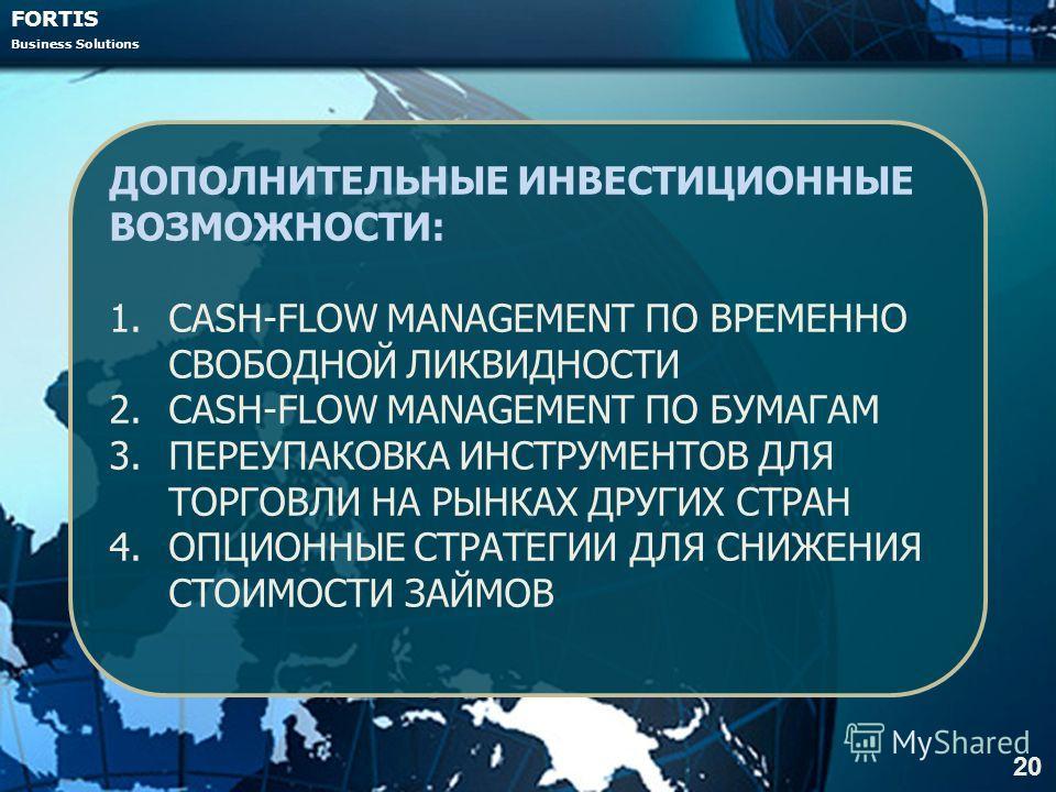 FORTIS Business Solutions 20 ДОПОЛНИТЕЛЬНЫЕ ИНВЕСТИЦИОННЫЕ ВОЗМОЖНОСТИ: 1.CASH-FLOW MANAGEMENT ПО ВРЕМЕННО СВОБОДНОЙ ЛИКВИДНОСТИ 2.CASH-FLOW MANAGEMENT ПО БУМАГАМ 3.ПЕРЕУПАКОВКА ИНСТРУМЕНТОВ ДЛЯ ТОРГОВЛИ НА РЫНКАХ ДРУГИХ СТРАН 4.ОПЦИОННЫЕ СТРАТЕГИИ Д