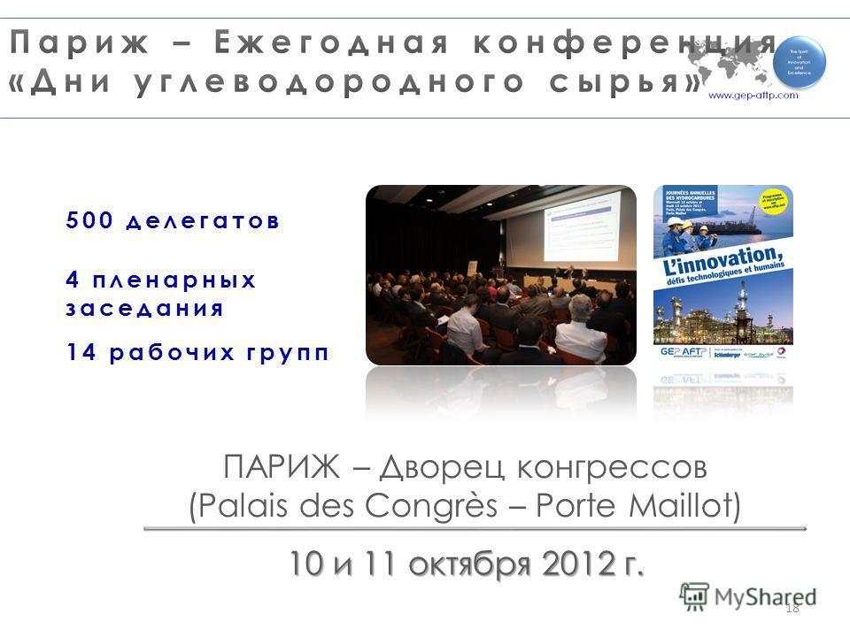 ПАРИЖ – Дворец конгрессов (Palais des Congrès – Porte Maillot) 10 и 11 октября 2012 г. 500 делегатов 4 пленарных заседания 14 рабочих групп 18