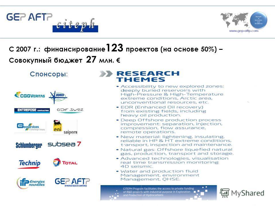 Спонсоры : 21 С 2007 г.: финансирование 123 проектов (на основе 50%) – Совокупный бюджет 27 млн.