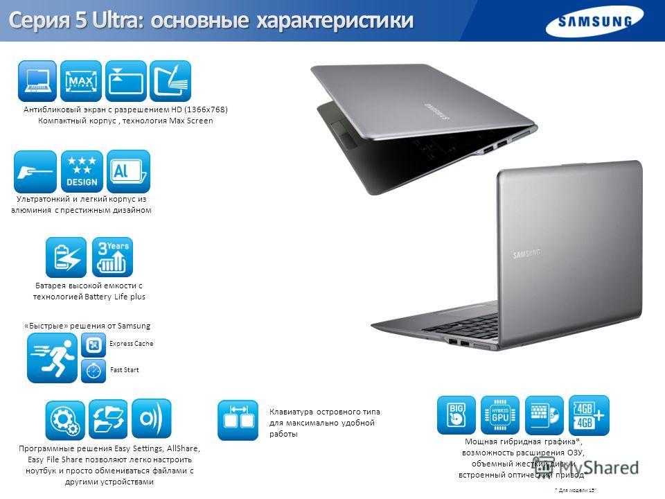 Антибликовый экран с разрешением HD (1366х768) Компактный корпус, технология Max Screen Клавиатура островного типа для максимально удобной работы Ультратонкий и легкий корпус из алюминия с престижным дизайном Программные решения Easy Settings, AllSha