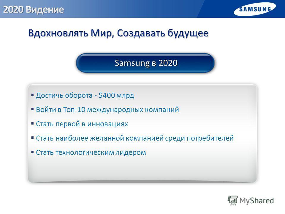 Вдохновлять Мир, Создавать будущее Достичь оборота - $400 млрд Войти в Топ-10 международных компаний Стать первой в инновациях Стать наиболее желанной компанией среди потребителей Стать технологическим лидером Samsung в 2020