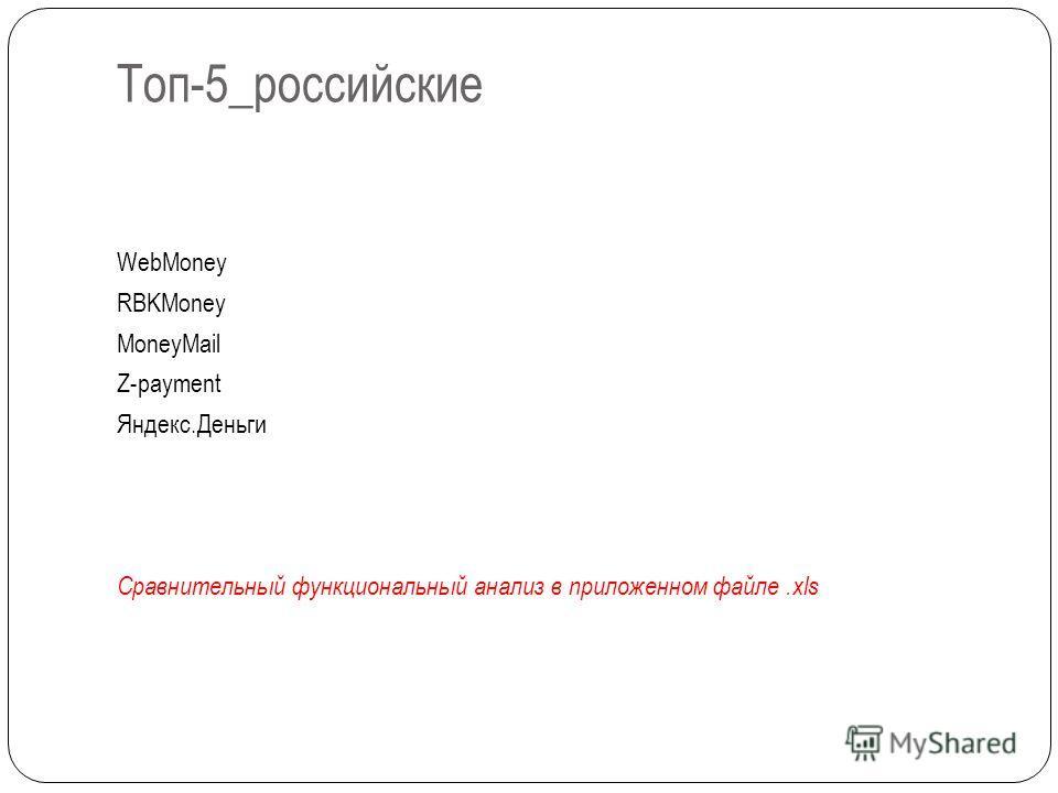 Топ-5_российские WebMoney RBKMoney MoneyMail Z-payment Яндекс.Деньги Сравнительный функциональный анализ в приложенном файле.xls