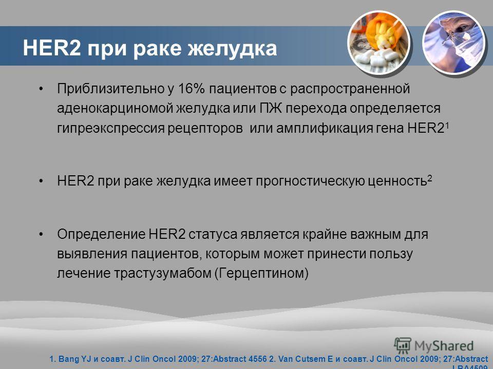 HER2 при раке желудка Приблизительно у 16% пациентов с распространенной аденокарциномой желудка или ПЖ перехода определяется гипреэкспрессия рецепторов или амплификация гена HER2 1 HER2 при раке желудка имеет прогностическую ценность 2 Определение HE