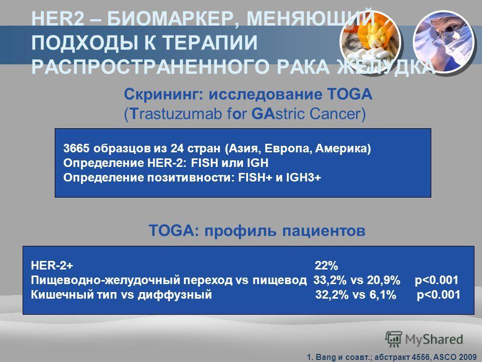 HER2 – БИОМАРКЕР, МЕНЯЮЩИЙ ПОДХОДЫ К ТЕРАПИИ РАСПРОСТРАНЕННОГО РАКА ЖЕЛУДКА Скрининг: исследование TOGA (Trastuzumab for GAstric Cancer) 3665 образцов из 24 стран (Азия, Европа, Америка) Определение HER-2: FISH или IGH Определение позитивности: FISH+