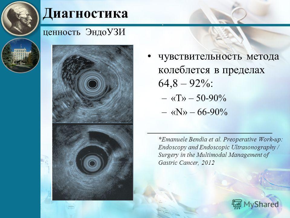 . Диагностика чувствительность метода колеблется в пределах 64,8 – 92%: –«Т» – 50-90% –«N» – 66-90% ______________________ *Emanuele Bendia et al. Preoperative Work-up: Endoscopy and Endoscopic Ultrasonography / Surgery in the Multimodal Management o