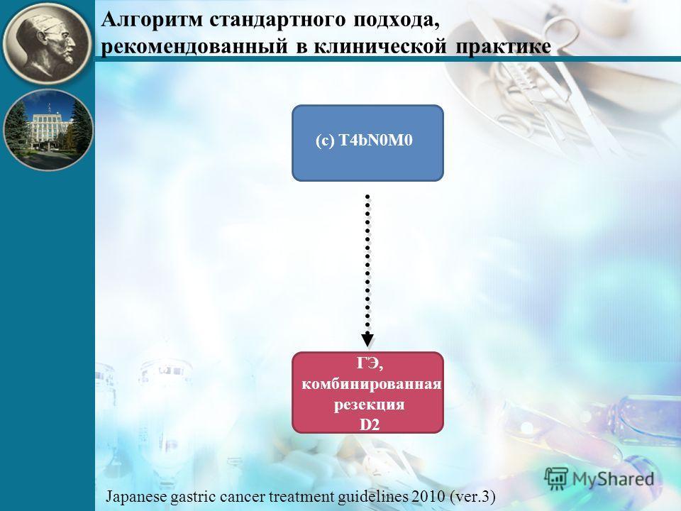 (c) T4bN0M0 ГЭ, комбинированная резекция D2 Алгоритм стандартного подхода, рекомендованный в клинической практике Japanese gastric cancer treatment guidelines 2010 (ver.3)