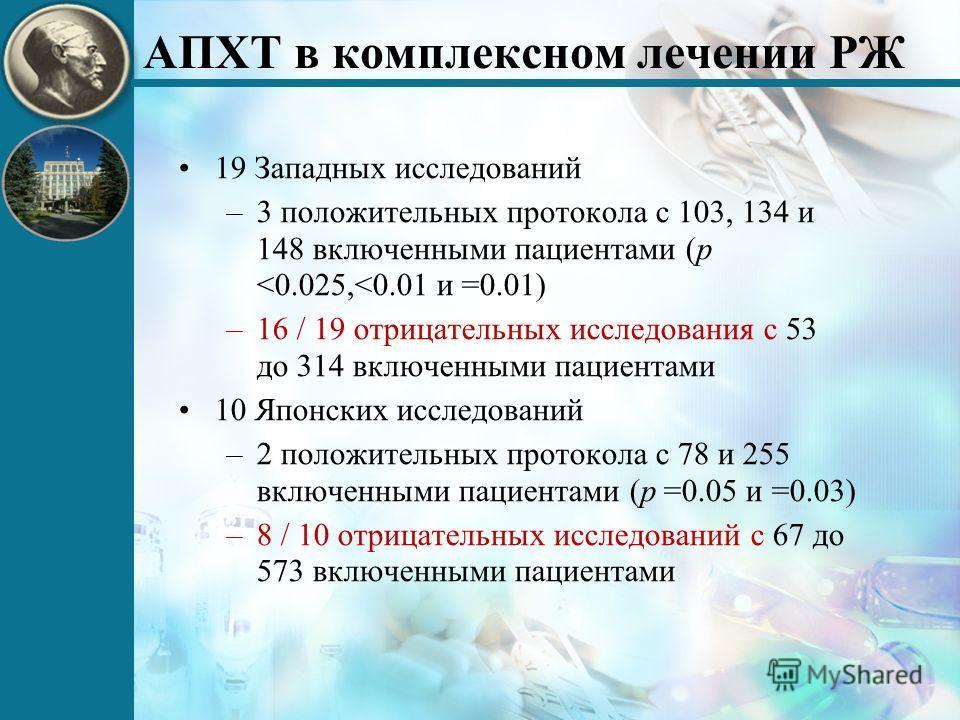 АПХТ в комплексном лечении РЖ 19 Западных исследований –3 положительных протокола с 103, 134 и 148 включенными пациентами (p