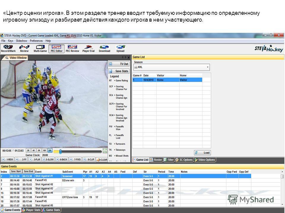 «Центр оценки игрока». В этом разделе тренер вводит требуемую информацию по определенному игровому эпизоду и разбирает действия каждого игрока в нем участвующего.