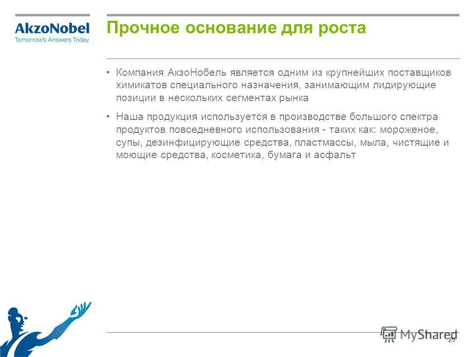 29 Прочное основание для роста Компания АкзоНобель является одним из крупнейших поставщиков химикатов специального назначения, занимающим лидирующие позиции в нескольких сегментах рынка Наша продукция используется в производстве большого спектра прод