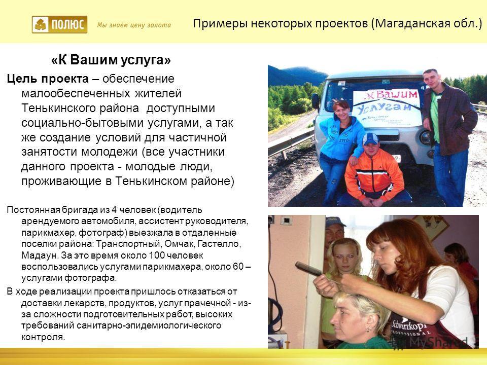 «К Вашим услуга» Цель проекта – обеспечение малообеспеченных жителей Тенькинского района доступными социально-бытовыми услугами, а так же создание условий для частичной занятости молодежи (все участники данного проекта - молодые люди, проживающие в Т