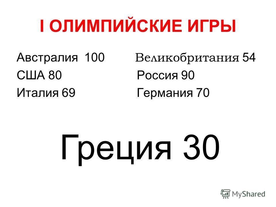 I ОЛИМПИЙСКИЕ ИГРЫ Австралия 100 Великобритания 54 США 80 Россия 90 Италия 69 Германия 70 Греция 30