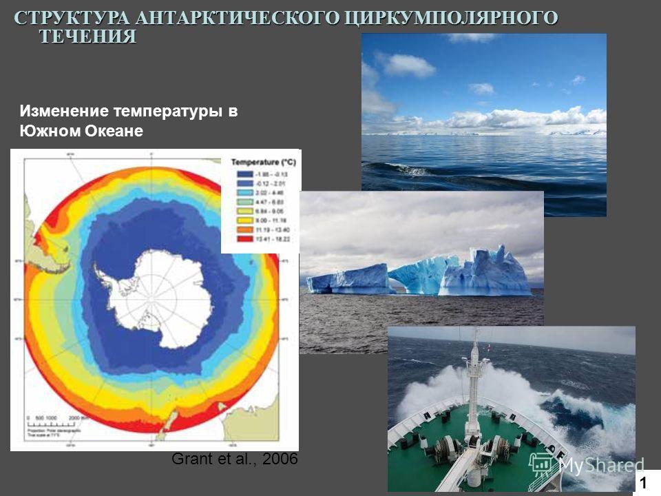 Изменение температуры в Южном Океане Grant et al., 2006 СТРУКТУРА АНТАРКТИЧЕСКОГО ЦИРКУМПОЛЯРНОГО ТЕЧЕНИЯ 1