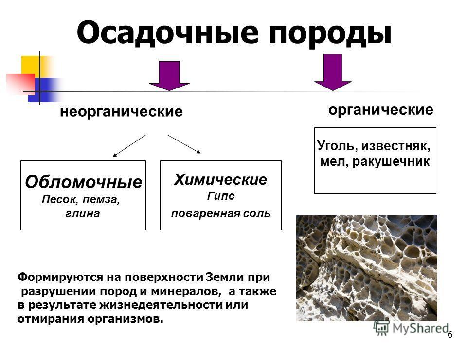 6 неорганические органические Обломочные Песок, пемза, глина Химические Гипс поваренная соль Уголь, известняк, мел, ракушечник Осадочные породы Формируются на поверхности Земли при разрушении пород и минералов, а также в результате жизнедеятельности