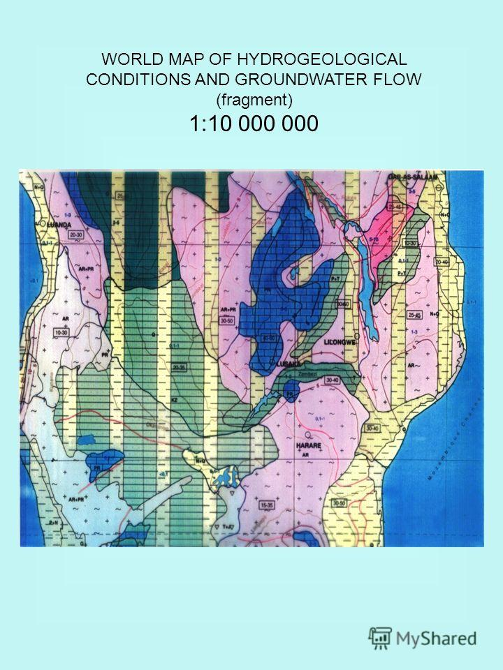WORLD MAP OF HYDROGEOLOGICAL CONDITIONS AND GROUNDWATER FLOW (fragment) 1:10 000 000