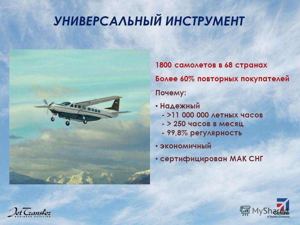 УНИВЕРСАЛЬНЫЙ ИНСТРУМЕНТ 1800 самолетов в 68 странах Более 60% повторных покупателей Почему: Надежный - >11 000 000 летных часов - > 250 часов в месяц - 99,8% регулярность экономичный сертифицирован МАК СНГ