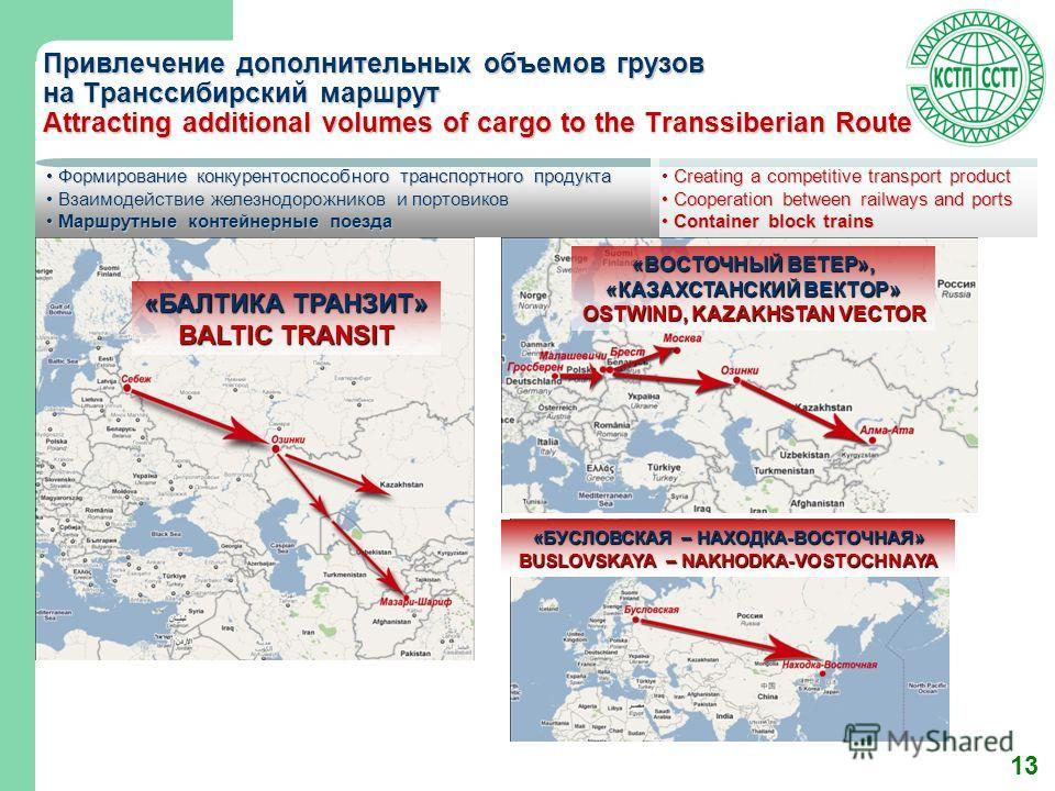 13 Привлечение дополнительных объемов грузов на Транссибирский маршрут Attracting additional volumes of cargo to the Transsiberian Route Формирование конкурентоспособного транспортного продукта Формирование конкурентоспособного транспортного продукта