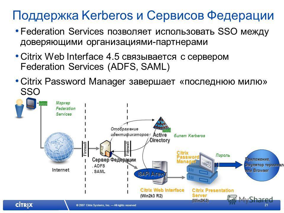 21 © 2007 Citrix Systems, Inc. All rights reserved Поддержка Kerberos и Сервисов Федерации Federation Services позволяет использовать SSO между доверяющими организациями-партнерами Citrix Web Interface 4.5 связывается с сервером Federation Services (