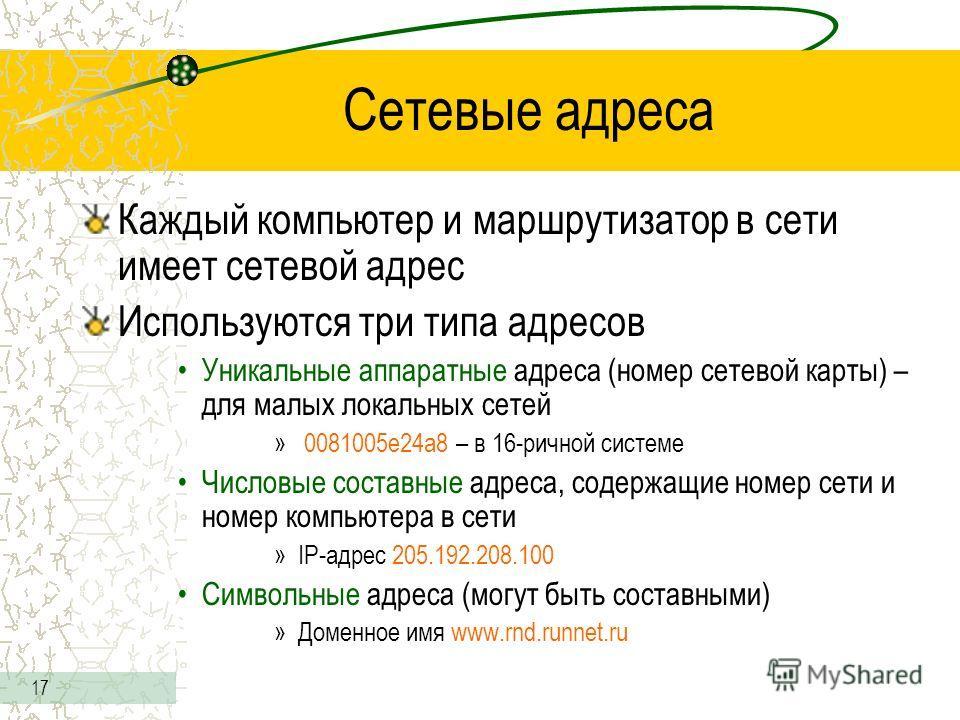 17 Сетевые адреса Каждый компьютер и маршрутизатор в сети имеет сетевой адрес Используются три типа адресов Уникальные аппаратные адреса (номер сетевой карты) – для малых локальных сетей » 0081005е24а8 – в 16-ричной системе Числовые составные адреса,