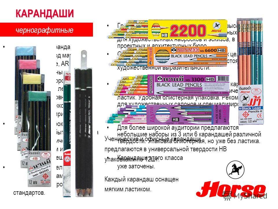 Графитовые карандаши исключительно высокого качества используется в профессиональных сферах для художественных набросков и эскизов, в проектных и архитектурных бюро. Они являются идеальным дополнением к целому спектру техник и помогают достигнуть нас