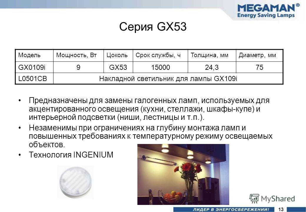 Серия GX53 Предназначены для замены галогенных ламп, используемых для акцентированного освещения (кухни, стеллажи, шкафы-купе) и интерьерной подсветки (ниши, лестницы и т.п.). Незаменимы при ограничениях на глубину монтажа ламп и повышенных требовани