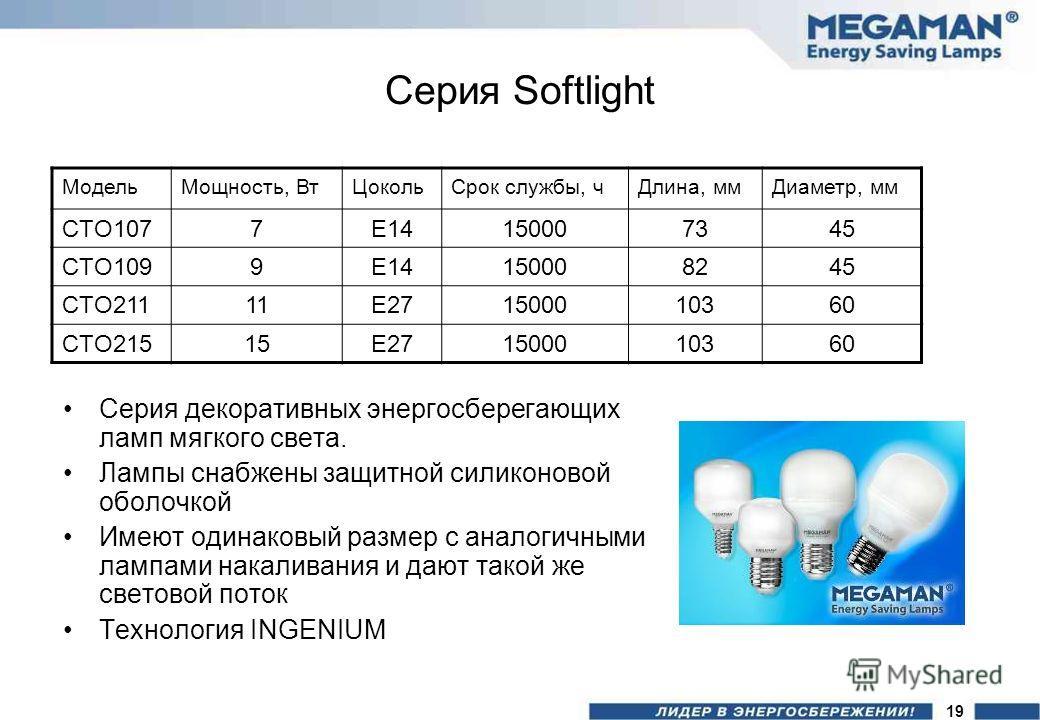 Серия Softlight Серия декоративных энергосберегающих ламп мягкого света. Лампы снабжены защитной силиконовой оболочкой Имеют одинаковый размер с аналогичными лампами накаливания и дают такой же световой поток Технология INGENIUM МодельМощность, ВтЦок