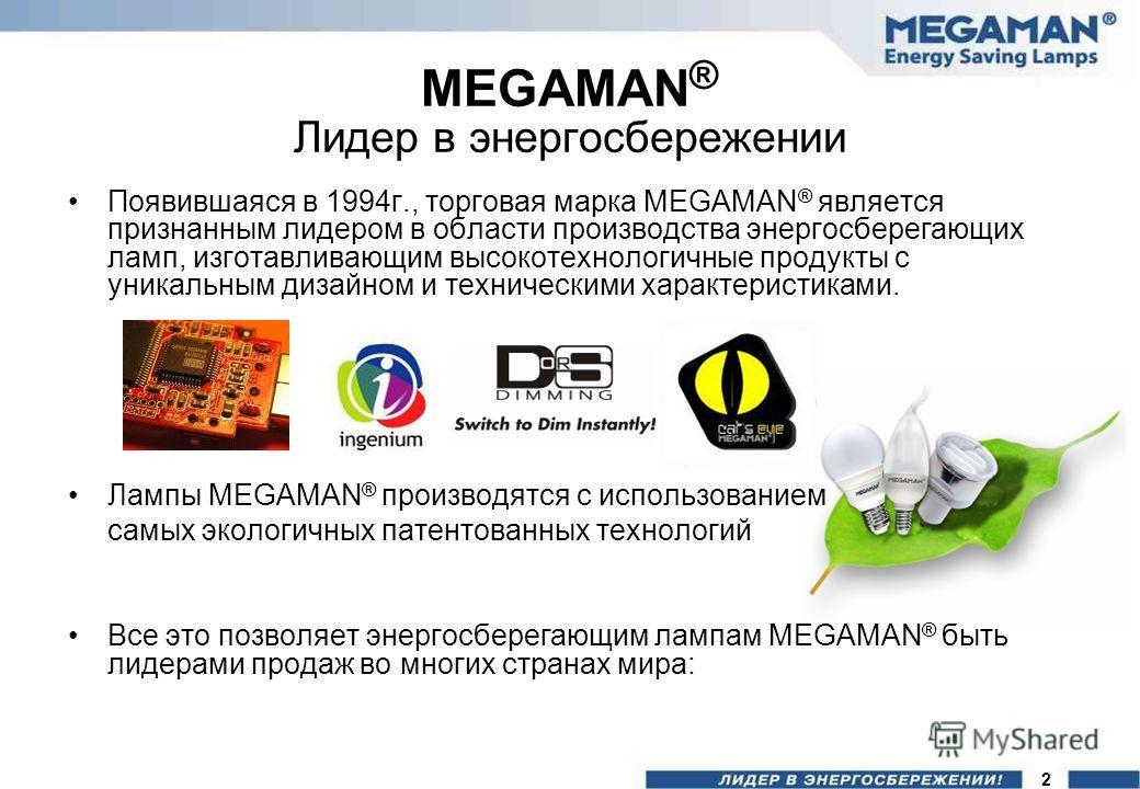 MEGAMAN ® Лидер в энергосбережении Появившаяся в 1994г., торговая марка MEGAMAN ® является признанным лидером в области производства энергосберегающих ламп, изготавливающим высокотехнологичные продукты с уникальным дизайном и техническими характерист