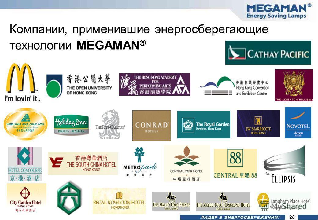 Компании, применившие энергосберегающие технологии MEGAMAN ® 25