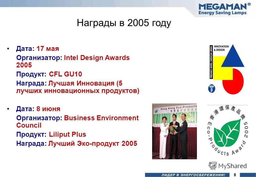 Награды в 2005 году Дата: 17 мая Организатор: Intel Design Awards 2005 Продукт: CFL GU10 Награда: Лучшая Инновация (5 лучших инновационных продуктов) Дата: 8 июня Организатор: Business Environment Council Продукт: Liliput Plus Награда: Лучший Эко-про