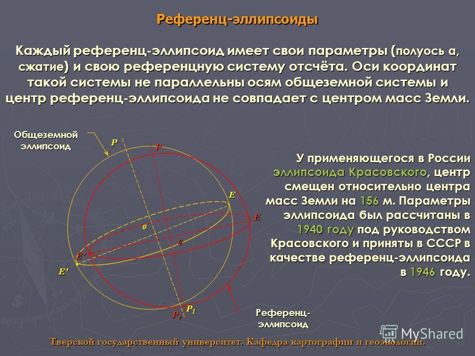 Референц-эллипсоиды Тверской государственный университет. Кафедра картографии и геоэкологии. Каждый референц-эллипсоид имеет свои параметры ( полуось а, сжатие ) и свою референцную систему отсчёта. Оси координат такой системы не параллельны осям обще