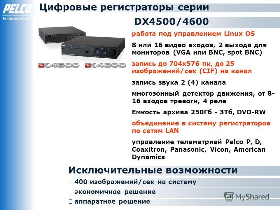 by Schneider Electric DX4500/4600 Исключительные возможности аппаратное решение Цифровые регистраторы серии работа под управлением Linux OS 8 или 16 видео входов, 2 выхода для мониторов (VGA или BNC, spot BNC) запись до 704х576 пк, до 25 изображений/