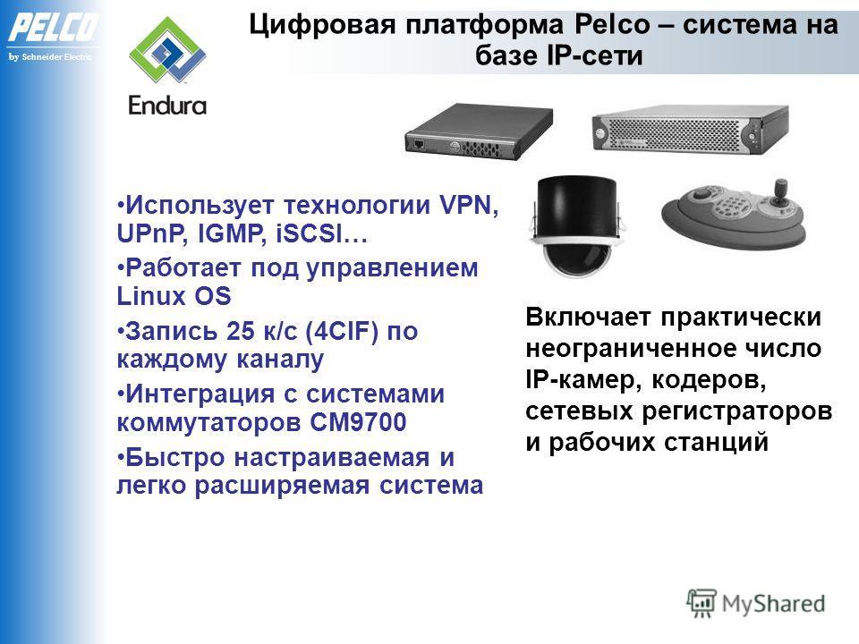 by Schneider Electric Включает практически неограниченное число IP-камер, кодеров, сетевых регистраторов и рабочих станций Использует технологии VPN, UPnP, IGMP, iSCSI… Работает под управлением Linux OS Запись 25 к/с (4CIF) по каждому каналу Интеграц