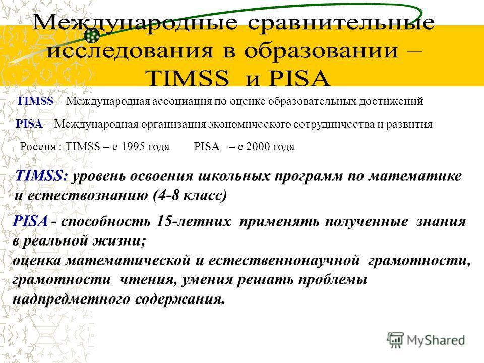 TIMSS – Международная ассоциация по оценке образовательных достижений PISA – Международная организация экономического сотрудничества и развития Россия : TIMSS – с 1995 годаPISA – с 2000 года TIMSS: уровень освоения школьных программ по математике и е