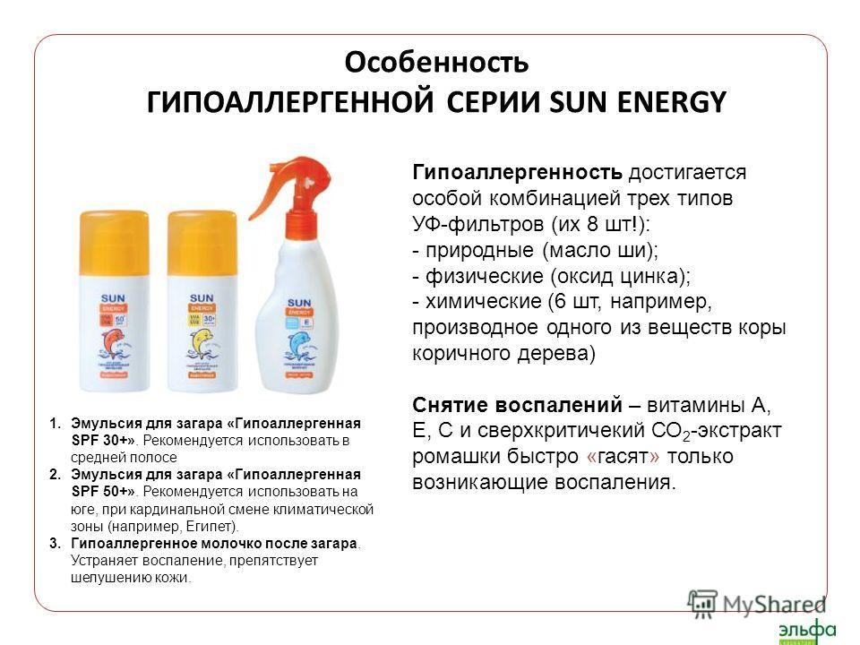 Гипоаллергенность достигается особой комбинацией трех типов УФ-фильтров (их 8 шт!): - природные (масло ши); - физические (оксид цинка); - химические (6 шт, например, производное одного из веществ коры коричного дерева) Снятие воспалений – витамины А,
