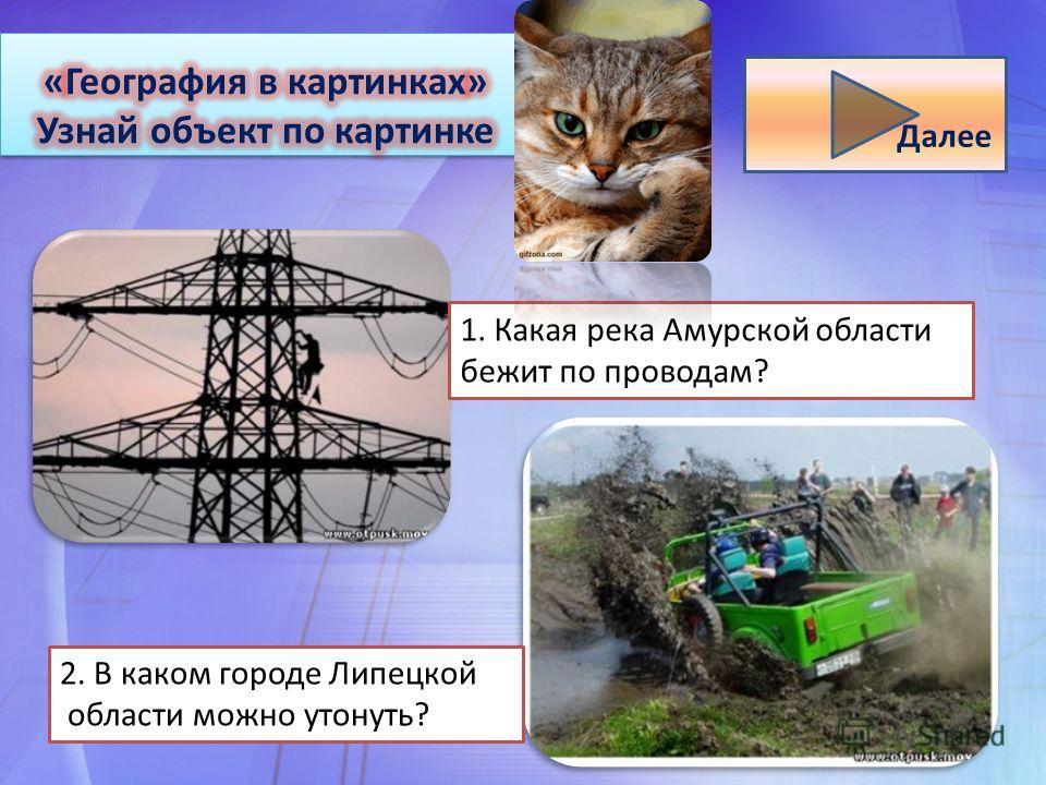 1. Какая река Амурской области бежит по проводам? 2. В каком городе Липецкой области можно утонуть? Далее