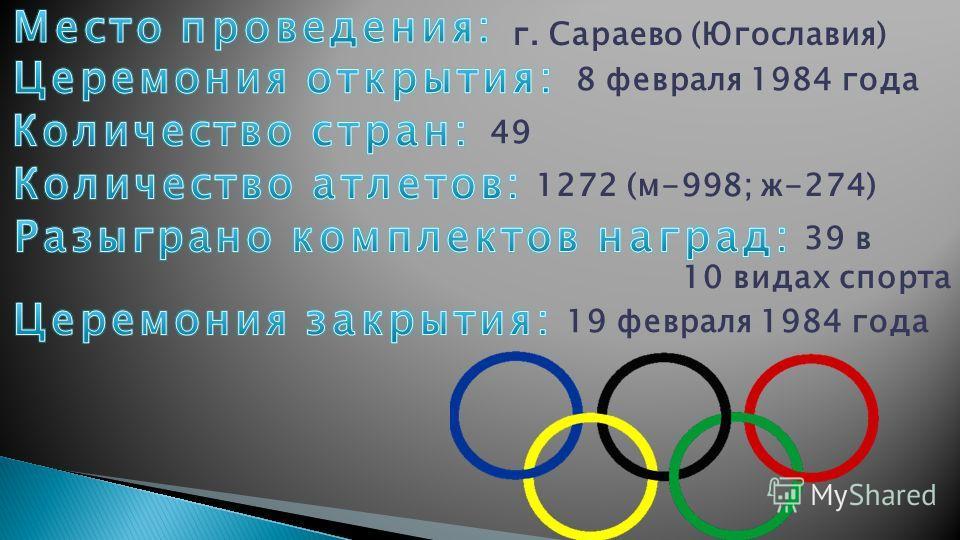 г. Сараево (Югославия) 8 февраля 1984 года 49 1272 (м-998; ж-274) 39 в 10 видах спорта 19 февраля 1984 года
