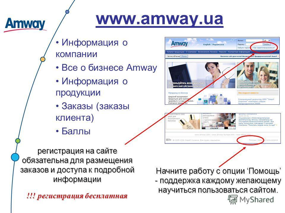 www.amway.ua Информация о компании Все о бизнесе Amway Информация о продукции Заказы (заказы клиента) Баллы регистрация на сайте обязательна для размещения заказов и доступа к подробной информации !!! регистрация бесплатная Начните работу с опции Пом