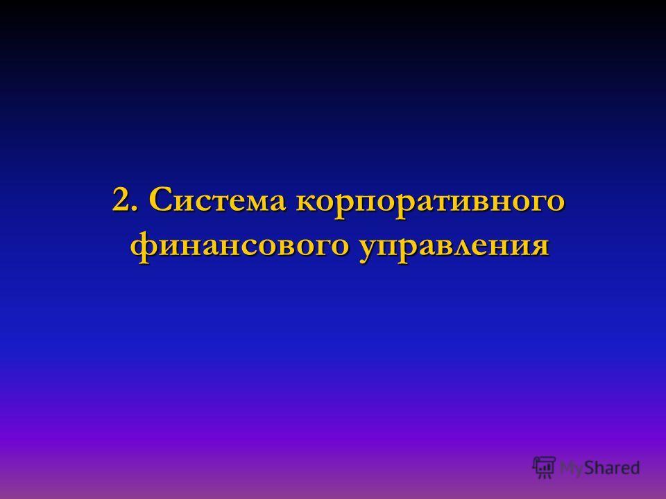 2. Система корпоративного финансового управления
