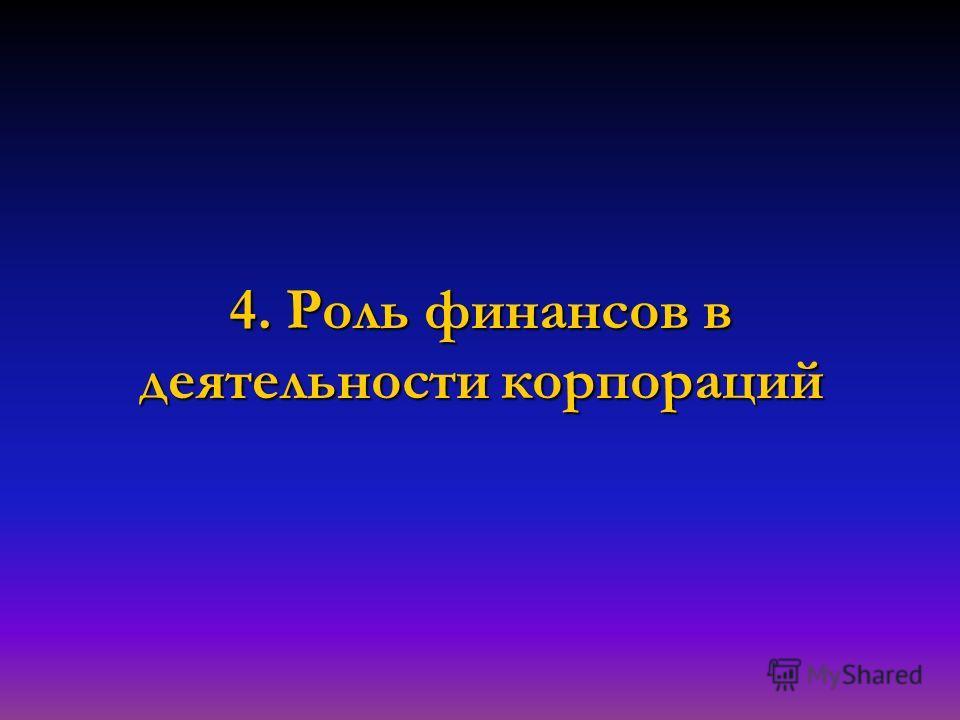4. Роль финансов в деятельности корпораций