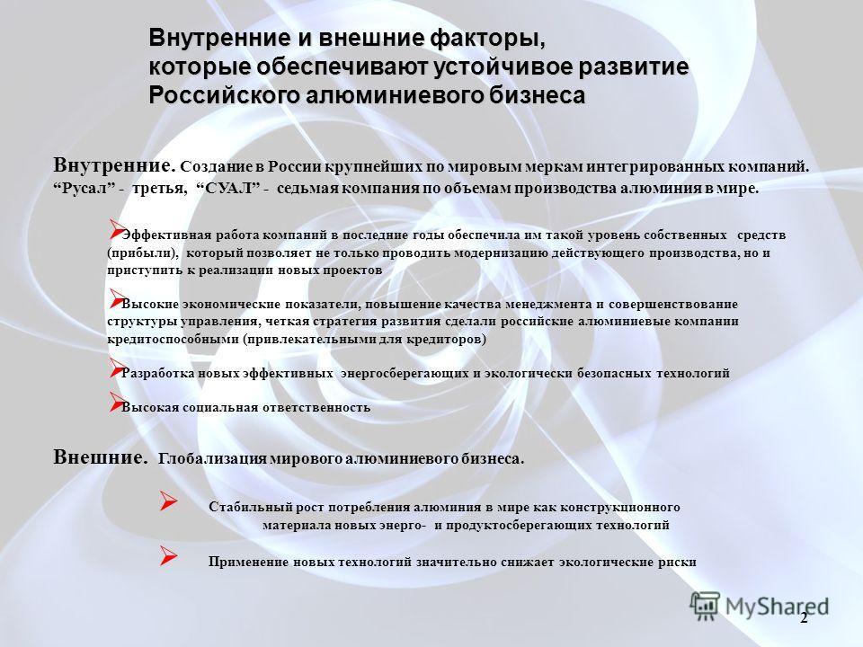 Внутренние и внешние факторы, которые обеспечивают устойчивое развитие Российского алюминиевого бизнеса Внутренние. Создание в России крупнейших по мировым меркам интегрированных компаний. Русал - третья, СУАЛ - седьмая компания по объемам производст