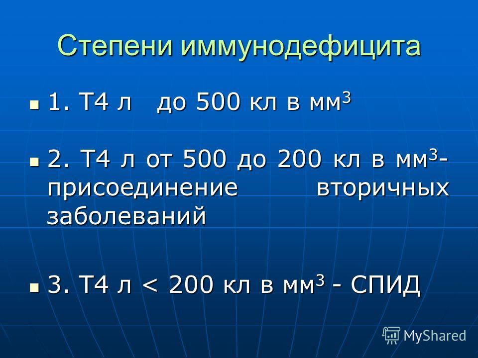Степени иммунодефицита 1. Т4 л до 500 кл в мм 3 1. Т4 л до 500 кл в мм 3 2. Т4 л от 500 до 200 кл в мм 3 - присоединение вторичных заболеваний 2. Т4 л от 500 до 200 кл в мм 3 - присоединение вторичных заболеваний 3. Т4 л < 200 кл в мм 3 - СПИД 3. Т4