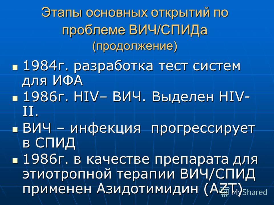 Этапы основных открытий по проблеме ВИЧ/СПИДа (продолжение) 1984г. разработка тест систем для ИФА 1984г. разработка тест систем для ИФА 1986г. HIV– ВИЧ. Выделен HIV- II. 1986г. HIV– ВИЧ. Выделен HIV- II. ВИЧ – инфекция прогрессирует в СПИД ВИЧ – инфе